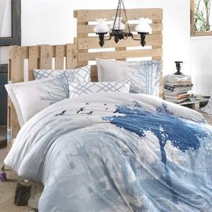 Постельное белье Hobby Home Collection ALANDRA хлопковый сатин голубой евро