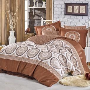 Постельное белье Hobby Home Collection SILVANA хлопковый сатин коричневый евро