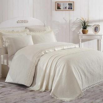Постельное белье с покрывалом Hobby Home Collection ELITE SET хлопковый сатин делюкс кремовый