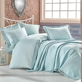 Комплект постельного белья с покрывалом Hobby Home Collection ELITE SET хлопковый сатин делюкс (минт)