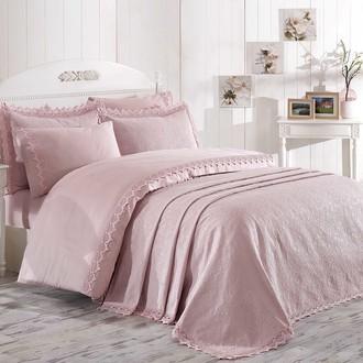 Комплект постельного белья с покрывалом Hobby Home Collection ELITE SET хлопковый сатин делюкс (пудра)