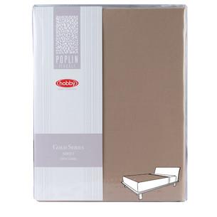 Простынь на резинке Hobby Home Collection GOLD хлопковый поплин коричневый 180х200+30