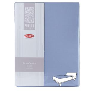 Простынь на резинке Hobby Home Collection GOLD хлопковый поплин светло-голубой 100х200+30