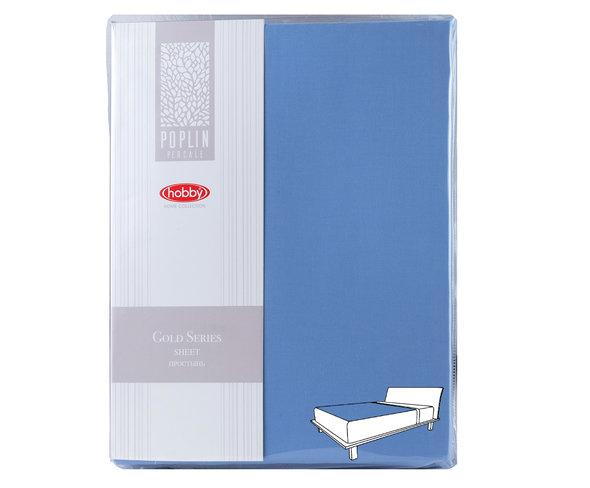 Простынь на резинке Hobby Home Collection GOLD хлопковый поплин (синий) 160*200+30, фото, фотография