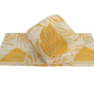 Полотенце для ванной Hobby Home Collection AUTUMN хлопковая махра+велюр жёлтый 100х150