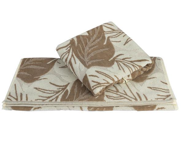 Полотенце для ванной Hobby Home Collection AUTUMN хлопковая махра+велюр (песочный) 100*150, фото, фотография