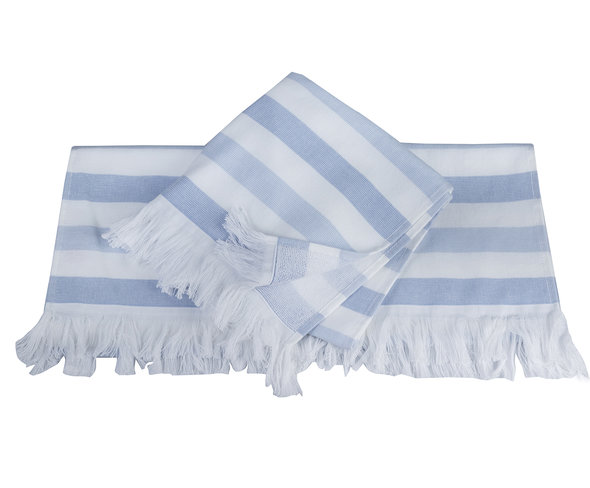 Банное полотенце (пештемаль) Hobby Home Collection STRIPE хлопок (голубой) 30*50, фото, фотография