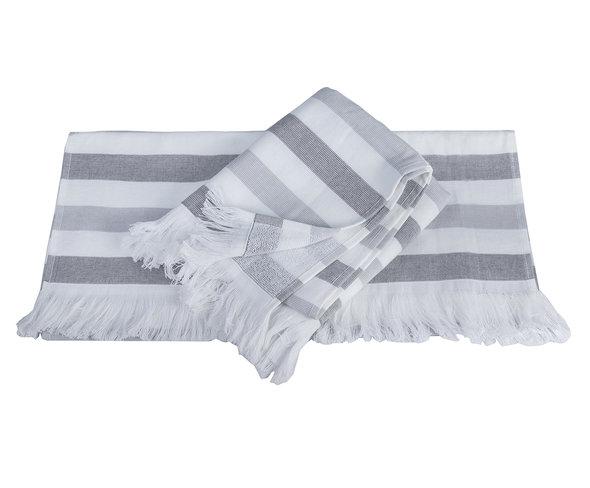 Банное полотенце (пештемаль) Hobby Home Collection STRIPE хлопок (серый) 30*50, фото, фотография
