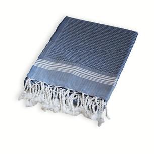Полотенце-палантин пештемаль Buldan's TUANA хлопок белый+синий 100х180