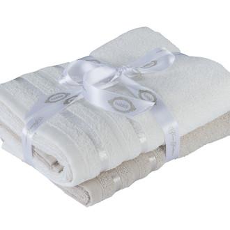 Набор полотенец для ванной 50х90 2 шт. Hobby Home Collection NISA хлопковая махра бежевый+молочный