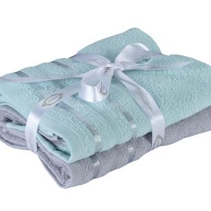 Набор полотенец для ванной 50х90 2 шт. Hobby Home Collection NISA хлопковая махра бирюзово-зелёный+светло-серый
