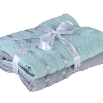 Набор полотенец для ванной 50*90 2 шт. Hobby Home Collection NISA хлопковая махра бирюзово-зелёный+светло-серый
