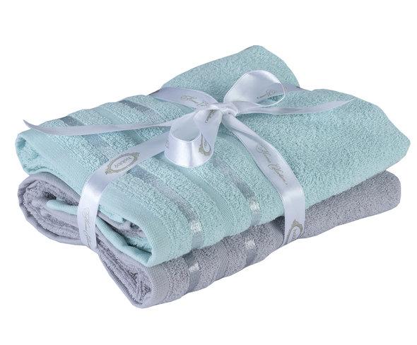 Набор полотенец для ванной 50*90(2) Hobby Home Collection NISA хлопковая махра (бирюзово-зелёный+светло-серый), фото, фотография