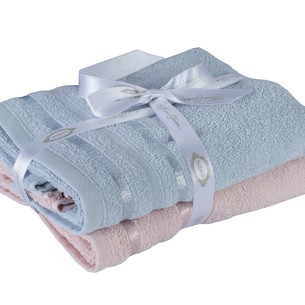Набор полотенец для ванной 50х90 2 шт. Hobby Home Collection NISA хлопковая махра пудра+голубой