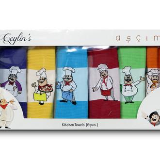Набор кухонных полотенец 40*60(6) Ceylin's 8063 хлопковая вафля (03)