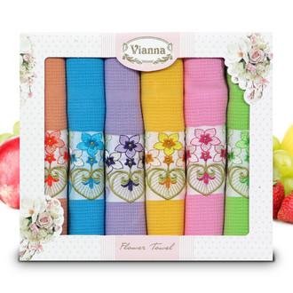 Набор кухонных полотенец 45*65(6) Vianna FLOWER TOWEL 8056 хлопковая вафля (13)
