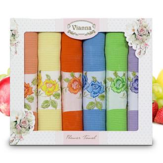 Набор кухонных полотенец 45*65(6) Vianna FLOWER TOWEL 8056 хлопковая вафля (09)
