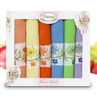 Набор кухонных полотенец 45*65(6) Vianna FLOWER TOWEL 8056 хлопковая вафля (06)