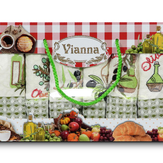 Набор кухонных полотенец 35*50 6 шт. Vianna LUXURY хлопковая вафля 06