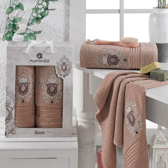 Набор полотенец для ванной 50*80, 70*130 Merzuka BOSS 8004 хлопковая махра (05)