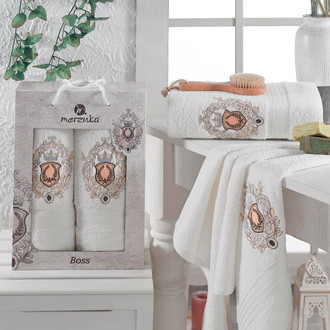Набор полотенец для ванной 50х80, 70х130 Merzuka BOSS 8004 хлопковая махра 07