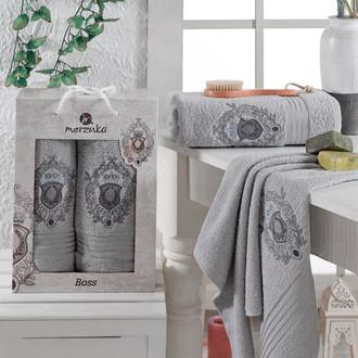 Набор полотенец для ванной 50*80, 70*130 Merzuka BOSS 8004 хлопковая махра (02)