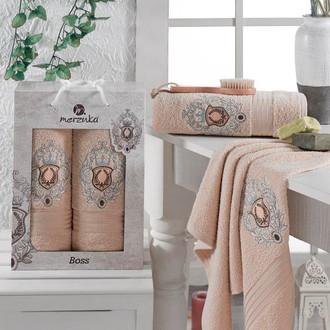 Набор полотенец для ванной 50*80, 70*130 Merzuka BOSS 8004 хлопковая махра (01)
