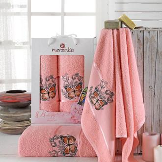 Набор полотенец для ванной 50*80, 70*130 Merzuka BUTTERFLY 8012 хлопковая махра (12)