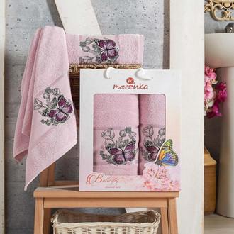 Набор полотенец для ванной 50*80, 70*130 Merzuka BUTTERFLY 8012 хлопковая махра (06)