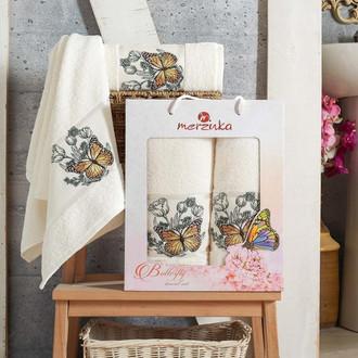 Набор полотенец для ванной 50*80, 70*130 Merzuka BUTTERFLY 8012 хлопковая махра (08)