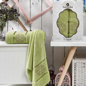 Набор полотенец для ванной 50*80, 70*130 Merzuka DAMASK 8011 хлопковая махра (03)