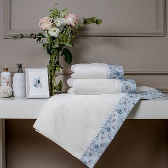 Набор полотенец для ванной 3 пр. Tivolyo Home GINEVRA хлопковая махра (кремовый)