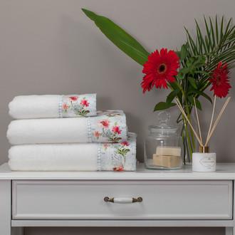 Набор полотенец для ванной 3 пр. Tivolyo Home NERO хлопковая махра (кремовый)