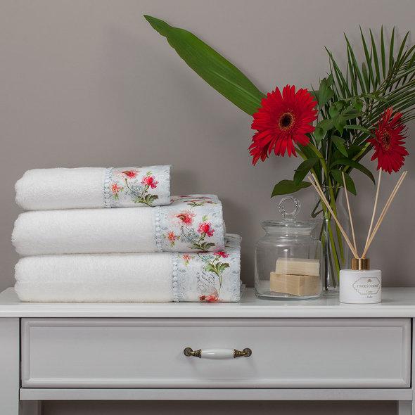 Набор полотенец для ванной 3 пр. Tivolyo Home NERO хлопковая махра (кремовый), фото, фотография