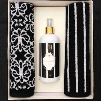 Набор полотенец для ванной 40*60(2) + спрей Tivolyo Home CASABLANCA FLOWER хлопковая махра (чёрный+белый)