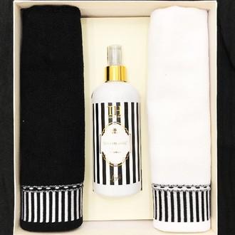 Набор полотенец для ванной 40*60(2) + спрей Tivolyo Home CASABLANCA LINE хлопковая махра (чёрный+белый)