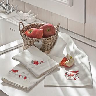 Набор кухонных полотенец Tivolyo Home APPLE хлопковая вафля
