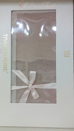 Скатерть прямоугольная с салфетками Tivolyo Home ATHENA жаккард пудра 160х260, фото, фотография