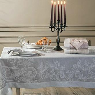 Скатерть прямоугольная с салфетками Tivolyo Home ATHENA жаккард (серый)