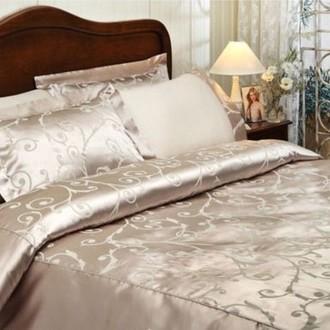 Комплект постельного белья Tivolyo Home ASMARA хлопковый сатин-жаккард (бежевый)