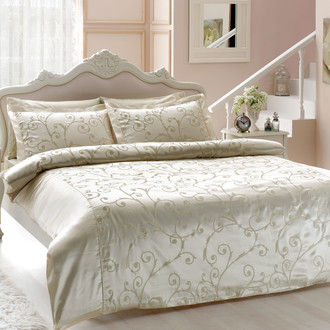 Комплект постельного белья Tivolyo Home ASMARA хлопковый сатин-жаккард (кремовый)