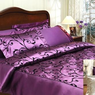 Комплект постельного белья Tivolyo Home ASMARA хлопковый сатин-жаккард (фиолетовый)