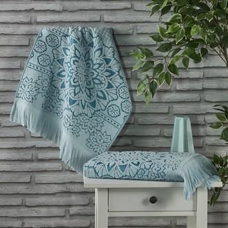 Полотенце для ванной Karna DURU хлопковая махра (зелёный)