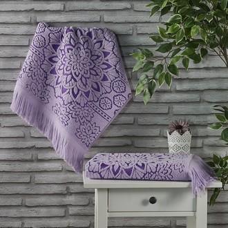 Полотенце для ванной Karna DURU хлопковая махра (сиреневый)