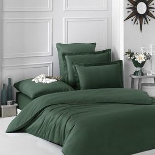 Постельное белье Karna LOFT хлопковый сатин зелёный евро