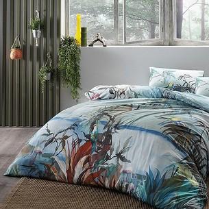 Постельное белье TAC INOVA ION THERAPY NATURAL бамбуково-хлопковый сатин голубой евро