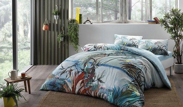 Постельное белье TAC INOVA ION THERAPY NATURAL бамбуково-хлопковый сатин голубой евро, фото, фотография