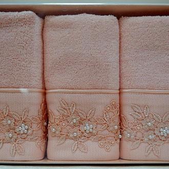 Набор полотенец для ванной в подарочной упаковке 32*50(3) Soft Cotton MASAL бамбуково-хлопковая махра (персиковый)