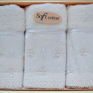 Набор полотенец для ванной в подарочной упаковке 32х50 3 шт. Soft Cotton SELEN хлопковая махра белый