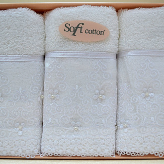 Набор полотенец для ванной в подарочной упаковке 32*50(3) Soft Cotton SELEN хлопковая махра (белый)